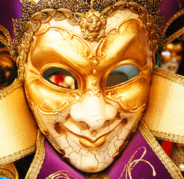 Striking gold opera mask on sale in the Italian city of Verona, famed for its live opera.