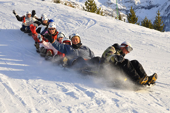 A group of thrillseekers toboggan down a mountain in the French Alps ski resort of Les Orres.
